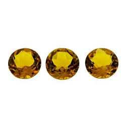 16.77 ctw.Natural Round Cut Citrine Quartz Parcel of Three