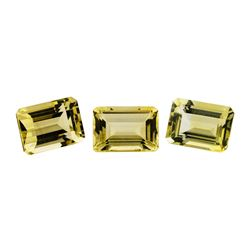 23.32 ctw.Natural Emerald Cut Citrine Quartz Parcel of Three