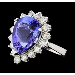 GIA Cert 9.31 ctw Tanzanite and Diamond Ring - 14KT White Gold