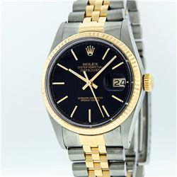 Rolex Mens 2 Tone 14K Black Tapestry Index 36MM Datejust Wristwatch With Rolex B