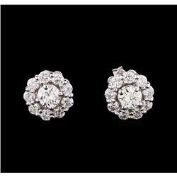 1.24 ctw Diamond Earrings - 14KT White Gold