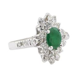 1.67 ctw Emerald and Diamond Ring - 14KT White Gold