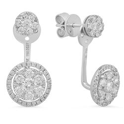 14k Gold 1.27CTW Diamond Earrings, (SI1-SI2)
