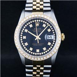 Rolex Mens 2 Tone 14K Black String VS Diamond Datejust Wristwatch