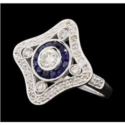 0.76 ctw Diamond Ring And Sapphire Ring- 18KT White Gold