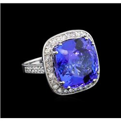 GIA Cert 21.38 ctw Tanzanite and Diamond Ring - 14KT White Gold