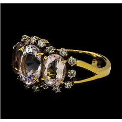 4.72 ctw Morganite and Diamond Ring - 18KT Rose Gold