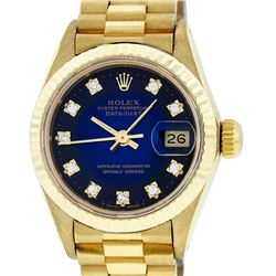 Rolex Ladies 18K Yellow Gold Blue Vignette Diamond Datejust President Wristwatch