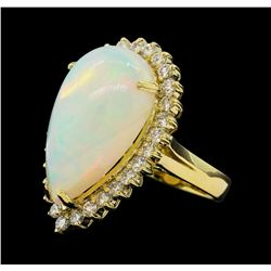 11.26 ctw Opal and Diamond Ring - 14KT Yellow Gold