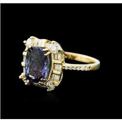 14KT Yellow Gold 3.61 ctw Tanzanite and Diamond Ring