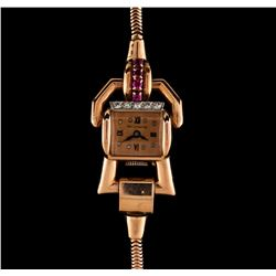 Paul Ditisheim 14KT Rose Gold Ruby and Diamond Ladies Vintage Watch