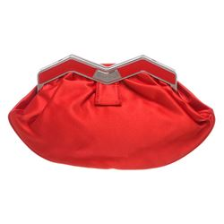 MCM Red Satin M Clutch Shoulder Bag