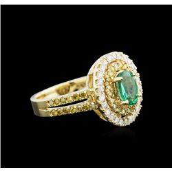 0.88 ctw Emerald and Diamond Ring - 14KT Yellow Gold