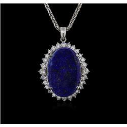 14KT White Gold 12.29 ctw Lapis Lazuli and Diamond Pendant With Chain