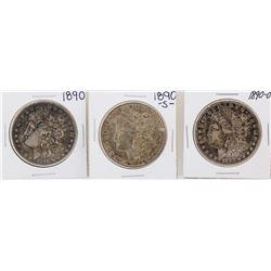 Lot of 1890, 1890-S, & 1890-O $1 Morgan Silver Dollar Coins