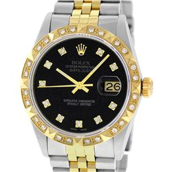 Rolex Mens 2 Tone 14K Black Diamond Pyramid Bezel Datejust Wristwatch