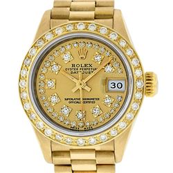 Rolex Ladies 18K Yellow Champagne String Diamond President Wristwatch With Rolex