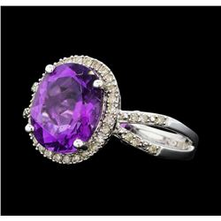 3.25 ctw Amethyst and Diamond Ring - 14KT White Gold