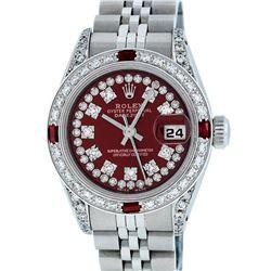 Rolex Ladies Stainless Steel 26MM Maroon Diamond Lugs Datejust Wristwatch