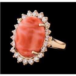 9.47 ctw Coral and Diamond Ring - 14KT Rose Gold