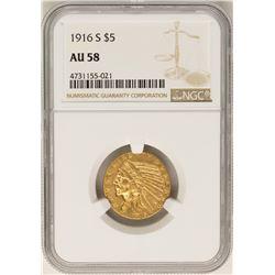 1+C4559:C4605916-S $5 Indian Head Half Eagle Gold Coin NGC AU58