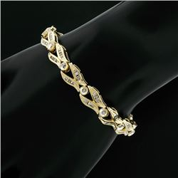 14K Yellow Gold 2.25 ctw Baguette Round Diamond Split & Bezel Link Tennis Bracel