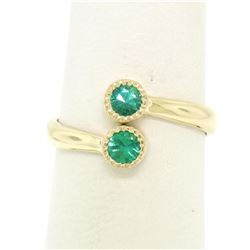 14k Yellow Gold Round Bezel Set Emerald Two Stone Simple Bypass Ring