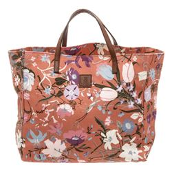 Gucci Pink Canvas Leather Small Floral Tote Bag