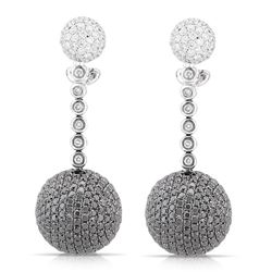 18k White Gold 6.34CTW Diamond and Black Diamondsand Brown Diamonds Earrings, (V