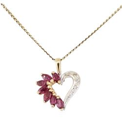 0.40 ctw Ruby and Diamond Heart Shaped Pendant with Chain - 14KT Yellow Gold