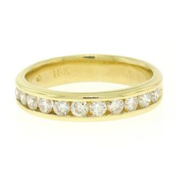 18k Yellow Gold 0.33 ctw 11 Channel Round Brilliant Cut Diamond Band Ring