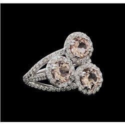 2.07 ctw Morganite and Diamond Ring - 14KT White Gold