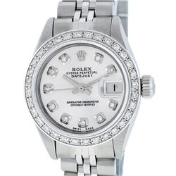 Rolex Ladies Stainless Steel Silver Diamond 26MM Datejust Wristwatch