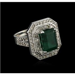 14KT White Gold 3.28 ctw Emerald and Diamond Ring