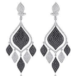 18k White Gold 4.87CTW Diamond and Black Diamonds Earrings, (VS1-VS2/G)