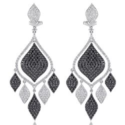 18k White Gold 4.87CTW Diamond and Black Diamonds Earrings, (VS1-VS2/G)