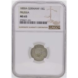 1850A Germany 1 Silber Groschen Prussia Coin NGC MS65