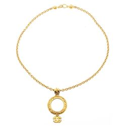 Chanel Gold Chain CC Round Magnify Glass Drop Pendant Vintage Necklace 95A