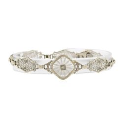 0.05 ctw Diamond Vintage Bracelet - 14KT White Gold
