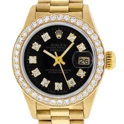 Rolex Ladies 18K Yellow Black 1 ctw Diamond President Wristwatch With Rolex Box