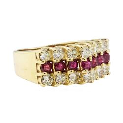 0.90 ctw Diamond and Ruby Ring - 14KT Yellow Gold