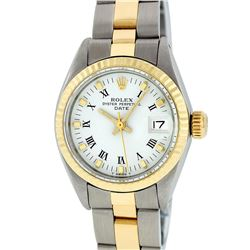 Rolex Ladies 2 Tone 14K White Index  26MM Oyster Band Fluted Datejust Wristwatch