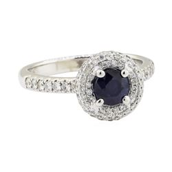 1.86 ctw Sapphire and Diamond Ring - 18KT White Gold