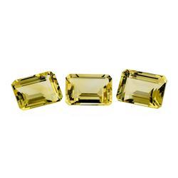 22.06 ctw.Natural Emerald Cut Citrine Quartz Parcel of Three