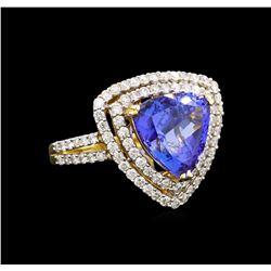 14KT Yellow Gold 4.96 ctw Tanzanite and Diamond Ring