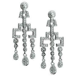 14k White Gold 0.98CTW Diamond Earrings, (I2 /H-I)
