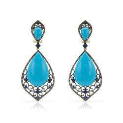 14k Yellow Gold  32.83CTW Turquoise and Sapphire and Brown Diamonds Earrings