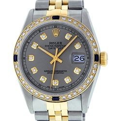 Rolex Mens 2 Tone 14K Slate Grey Diamond & Sapphire Datejust Wristwatch