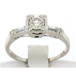 18k White Gold Round & Baguette VVS Diamond Engagement Solitaire Ring