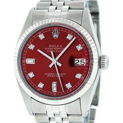 Rolex Mens Stainless Red Diamond 36MM Datejust Wristwatch